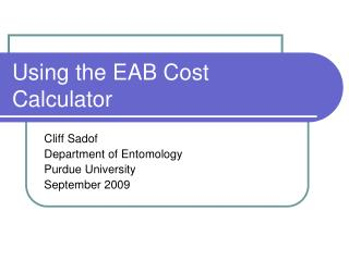 Using the EAB Cost Calculator