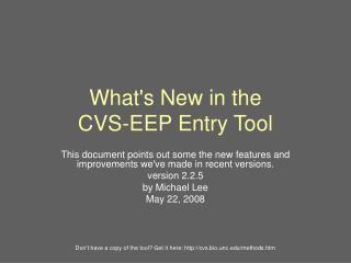 What's New in the CVS-EEP Entry Tool