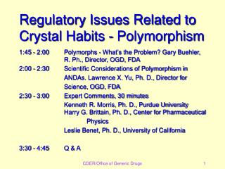 Regulatory Issues Related to Crystal Habits - Polymorphism