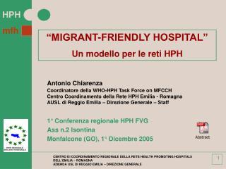 CENTRO DI COORDINAMENTO REGIONALE DELLA RETE HEALTH PROMOTING HOSPITALS DELL EMILIA   ROMAGNA AZIENDA USL DI REGGIO EMIL