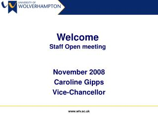 Welcome Staff Open meeting
