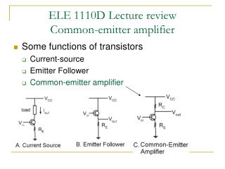 ELE 1110D Lecture review Common-emitter amplifier