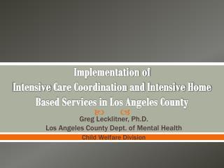 Greg Lecklitner, Ph.D. Los Angeles County Dept. of Mental Health Child Welfare Division