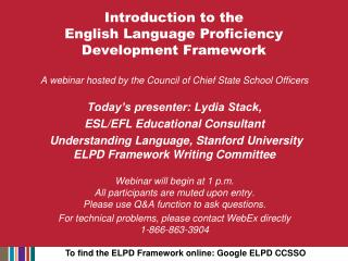 Introduction to the English Language Proficiency Development Framework