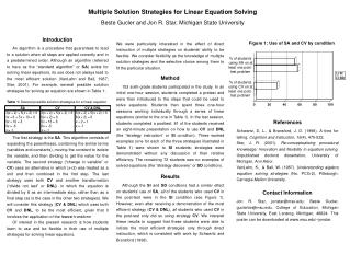 Multiple Solution Strategies for Linear Equation Solving
