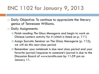 ENC 1102 for January 9, 2013