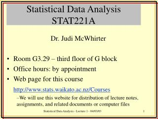 Statistical Data Analysis  STAT221A