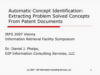 Automatic Concept Identification:  Extracting Problem Solved Concepts From Patent Documents