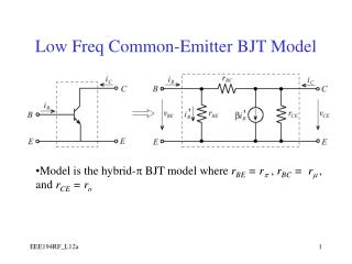 Low Freq Common-Emitter BJT Model