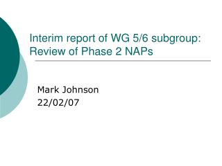 Interim report of WG 5/6 subgroup: Review of Phase 2 NAPs