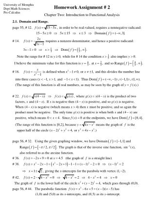 University of Memphis Dept Math Sciences Pre-Calculus
