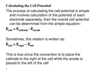 Calculating the Cell Potential