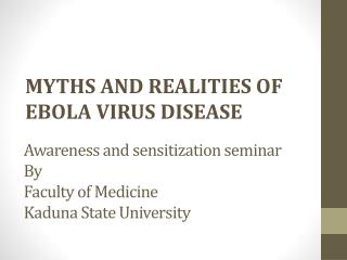 Awareness and sensitization seminar  By Faculty of Medicine Kaduna State University