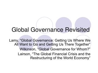 Global Governance Revisited