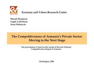 The Competitiveness of Armenia s Private Sector: Moving to the Next Stage