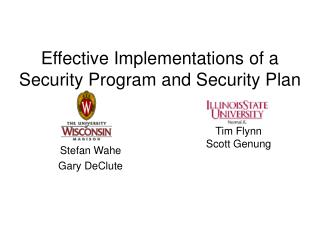 Effective Implementations of a Security Program and Security Plan
