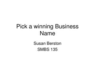 Pick a winning Business Name