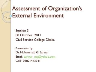 Assessment of Organization's External Environment