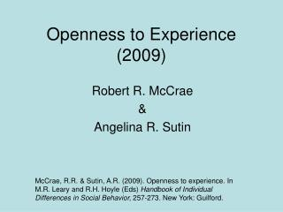 Openness to Experience (2009)