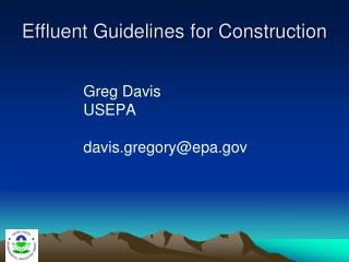 Effluent Guidelines for Construction