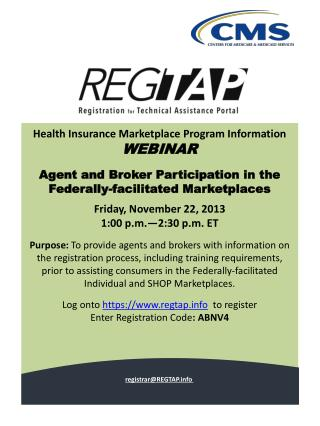 Health Insurance Marketplace Program Information  WEBINAR