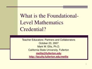What is the Foundational-Level Mathematics Credential?