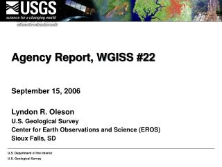 Agency Report, WGISS 22