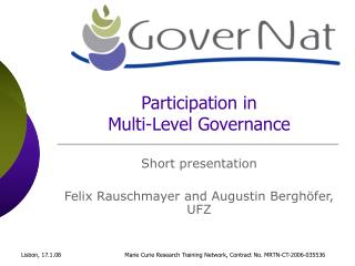 Participation in  Multi-Level Governance
