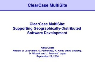 ClearCase MultiSite