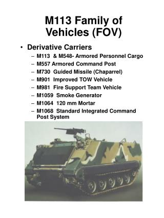 M113 Family of Vehicles (FOV)