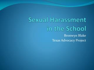 Sexual Harassment  in  the  School