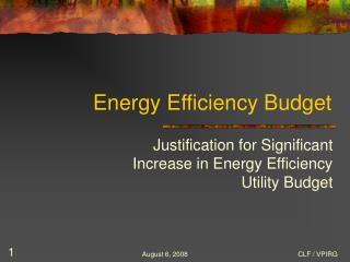 Energy Efficiency Budget