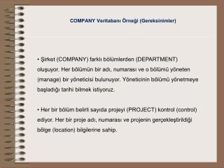 COMPANY Veritabanı Örneği (Gereksinimler)