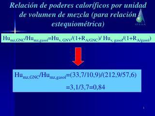 Hu mz,GNC /Hu mz,gasol =Hu v, GNV /(1+R A/GNC )/ Hu v, gasol /(1+R A/gasol )