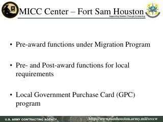 MICC Center – Fort Sam Houston