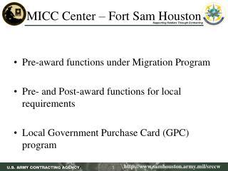 MICC Center � Fort Sam Houston