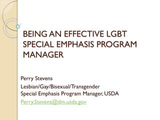 BEING AN EFFECTIVE LGBT SPECIAL EMPHASIS PROGRAM MANAGER
