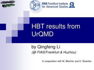 HBT results from UrQMD