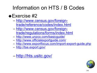 Information on HTS / B Codes