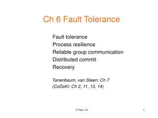 Ch 6 Fault Tolerance