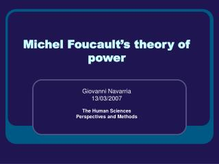 Michel Foucault�s theory of power