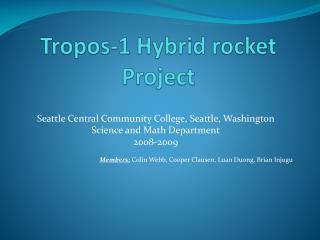 Tropos-1 Hybrid rocket Project