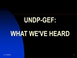 UNDP-GEF:  WHAT WE'VE HEARD