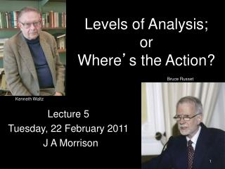 Levels of Analysis; or  Where ' s the Action?