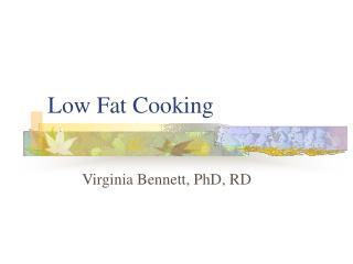 Low Fat Cooking