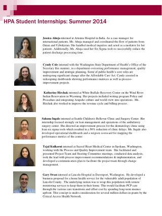 HPA Student Internships: Summer 2014