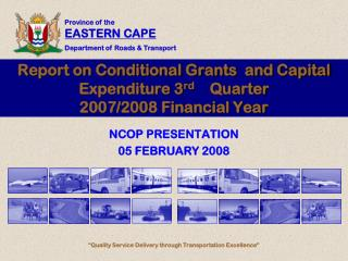 Report on Conditional Grants  and Capital Expenditure 3 rd     Quarter 2007/2008 Financial Year