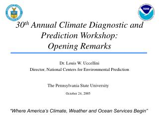 30 th  Annual Climate Diagnostic and Prediction Workshop:            Opening Remarks