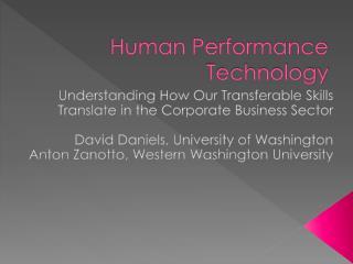 Human Performance Technology