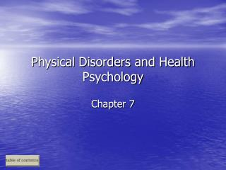 Physical Disorders and Health Psychology